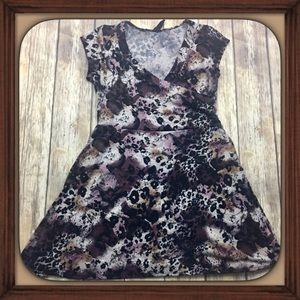 DG Animal Print Soft Stretchy Wrap Mini Dress EUC